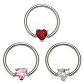 Surgical Steel Jeweled Heart Captive Bead Ring