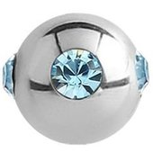 Surgical Steel Jewelled Satellite Micro Ball - Light Blue