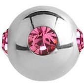 Surgical Steel Jewelled Satellite Micro Ball - Pink