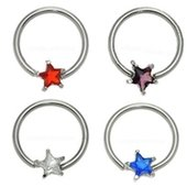 Surgical Steel Jeweled Star Captive Bead Ring
