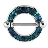 Surgical Steel Mother Of Pearl Mosaic Nipple Shield - Blue Zircon