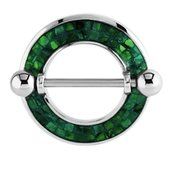 Surgical Steel Mother Of Pearl Mosaic Nipple Shield - Green