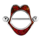 Surgical Steel Mother Of Pearl Mosaic Nipple Shield - Red