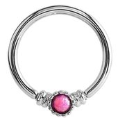 Surgical Steel Opal Captive Bead Ring - Pink
