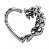 Surgical Steel Open Heart Continuous Ring - Left Dragon