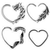 Surgical Steel Open Heart Continuous Rings - Left Set