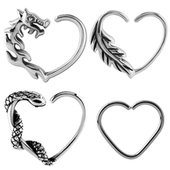 Surgical Steel Open Heart Continuous Rings - Right Set