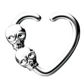 Surgical Steel Open Heart Seamless Ring - Skulls