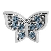 Surgical Steel Threaded Jeweled Butterfly Attachment - Light Blue