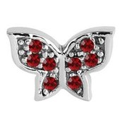 Surgical Steel Threaded Jeweled Butterfly Attachment - Red