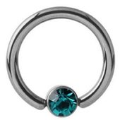 Titanium Jeweled Captive Bead Ring- Blue Zircon