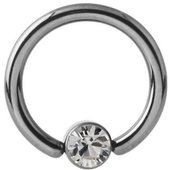 Titanium Jeweled Captive Bead Ring - Crystal Clear