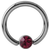 Titanium Jeweled Captive Bead Ring - Fuchsia
