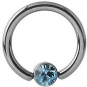 Titanium Jeweled Captive Bead Ring - Light Blue
