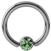 Titanium Jeweled Captive Bead Ring- Light Green