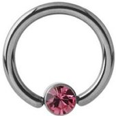 Titanium Jeweled Captive Bead Ring - Pink