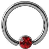 Titanium Jeweled Captive Bead Ring - Red