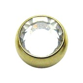 Zircon Gold Threaded Jewel Ball 14 ga - Clear