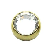 Zircon Gold Threaded Jewel Ball 16 ga - Clear