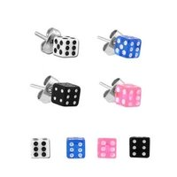 Acrylic Dice Ear Studs Set