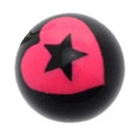 Black Acrylic Ball - Pink Heart