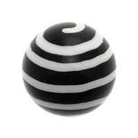 Black Acrylic Threaded Ball - White Twister