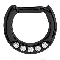 Black Surgical Steel Jeweled Hinged Clicker Ring - Crystal