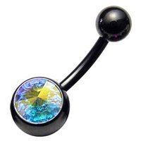 Blackline Jeweled Belly Rings - AB Crystal
