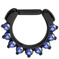 Blackline Jeweled Hinged Septum Clicker Ring - Blue