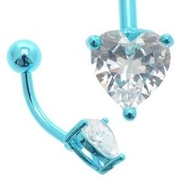 Blue Anodized Titanium Jeweled Heart Belly Ring