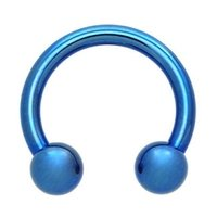 Blue Titanium Horseshoe Barbell