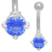 Claw Set Jewel Belly Ring (Blue)