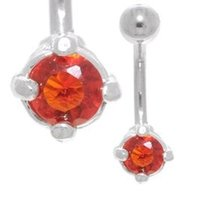 Claw Set Jewel Belly Bar (Red)