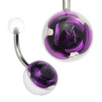 Clear Rose Ball Belly Ring - Purple