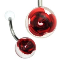 Clear Rose Ball Belly Ring  - Red