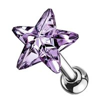 Crystal Star Cartilage Tragus Stud - Tanzanite