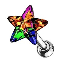 Crystal Star Cartilage Tragus Stud - Vitrail Medium