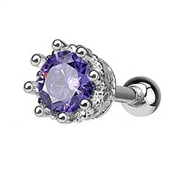 CZ Jewelled Crown Helix and Tragus Stud - Tanzanite