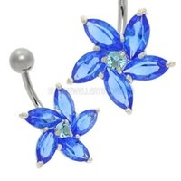 Daisy Jewel Belly Ring - Blue