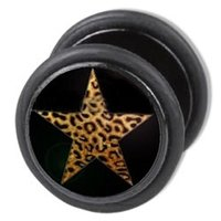 Fake Ear Plug - Black Leopard Star