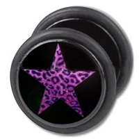 Fake Ear Plug - Black Purple Leopard Star