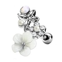 Flowered Surgical Steel Cartilage Stud