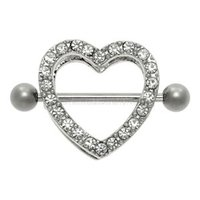 Gem Paved Heart Nipple Shield - Crystal Clear