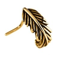 Gold Plated 90 Degree Nose Stud- Feather