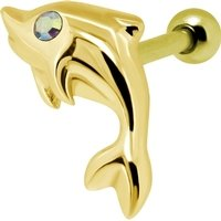 Gold Plated Crystal AB Jewelled Dolphin Tragus Bar