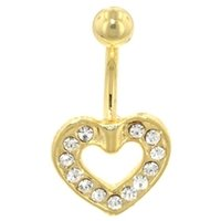 Gold Plated Crystal Heart Belly Rings