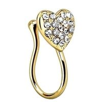Gold Plated Crystal Heart Nose Clip