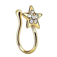 Gold Plated Crystal Star Nose Clip