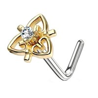 Gold Plated CZ Jewelled Heart L Bend Nose Piercing - Clear