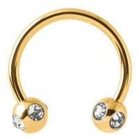 Gold Plated Horseshoe Barbell With Satellite Jeweled Balls - Crystal